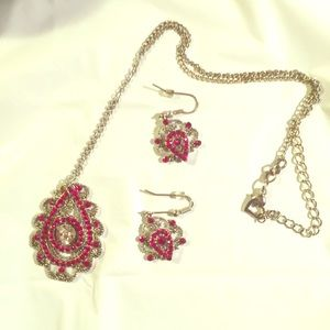Jewelry - Scroll Vintage Necklace & Earrings Red SET
